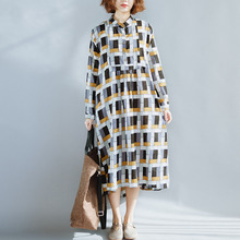 QLZW 2018 New Summer Dress Spring Clothes Long Sleeve Printing Turn-down Collar Chinese Sltye Big Size Clothes Women Fashion WA1