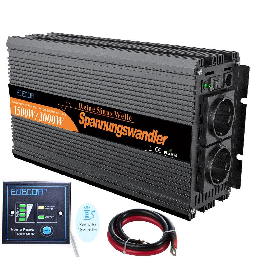 12 V 220 V 1500 W onda senoidal pura inversor 12 V para AC 220 V conversor 230 V