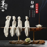 WOW LARGE # home office High grade Refined art Eastern Classical beauty Dehua ceramics pottery Carving art wooden statue gift