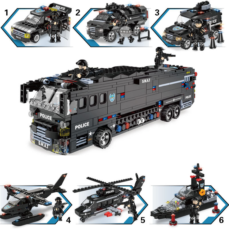 1092pcs Children's building blocks toy Compatible Legoingly city 6 in 1 mobile combat bus DIY figures Bricks boy gift-in Blocks from Toys & Hobbies    3