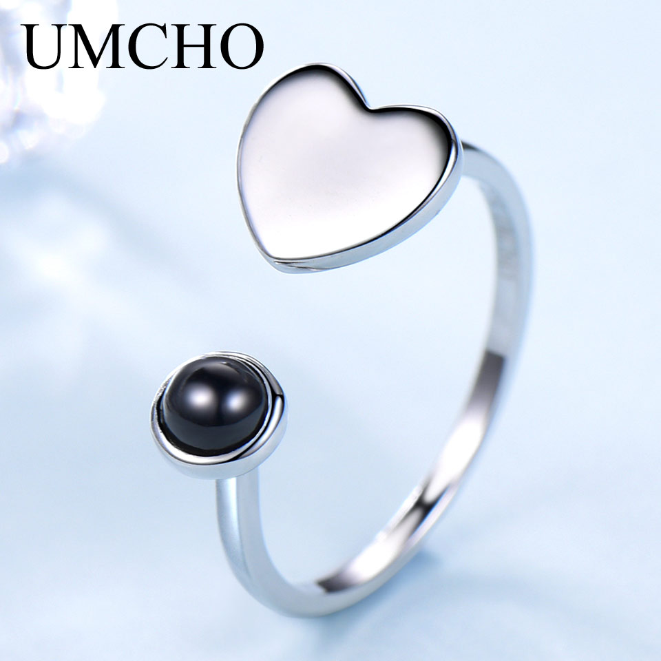 UMCHO Natural Agate Gemstone 925 Sterling Silver Ring Heart Love Adjustable Ring For Women Wedding Gift Fine Jewelry
