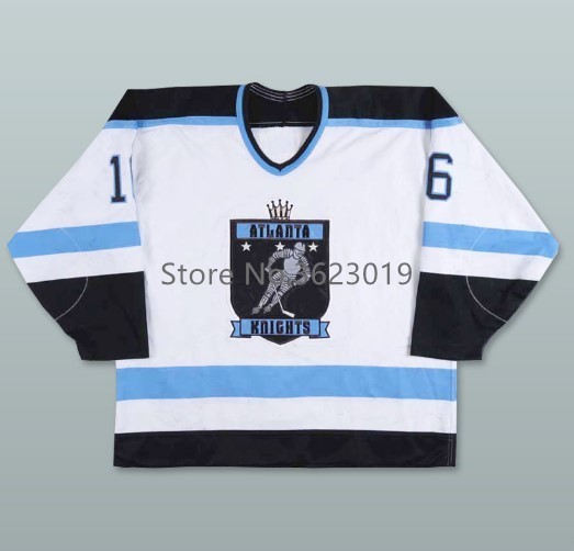 IHL Lee Davidson  16 Atlanta Knights Home Hockey Jersey Embroidery Stitched  Customize any number and name 078242955