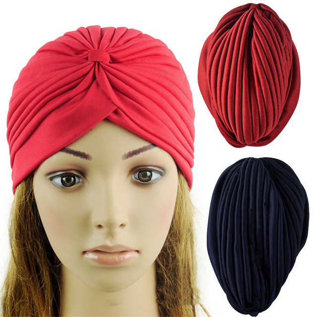 Indian Cap Pleated Head Wrap Turban Stretchy Band Cloche Chemo Hijab Hat  Trendy 7e74e8fcff2