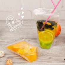 50pcs New Clear Plastic Drinking Packaging Bag Beverage Juice Milk Coffee Pouch Hot and Cold Fruit Juice Zip Bags(China)