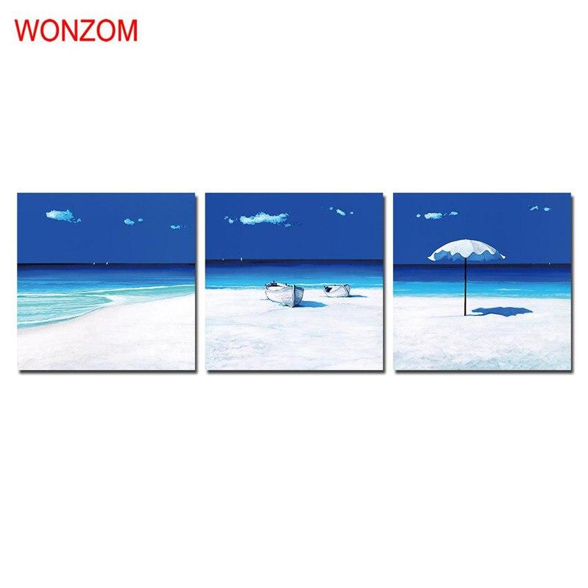 Enmarcado playa paisaje abstracto lienzo pinturas moderna pared ...