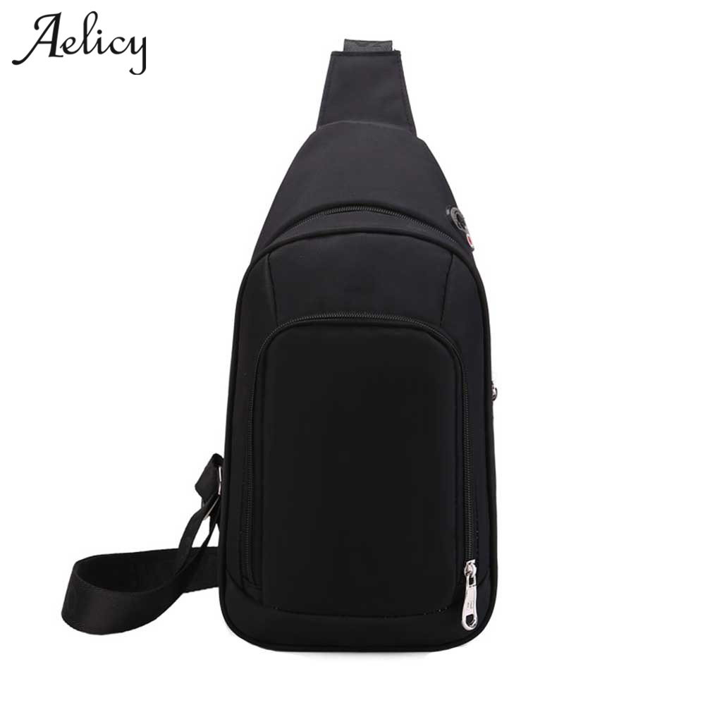 Aelicy Casual Canvas Messenger Bag Black Men Chest Bags Small Size Men  Travel Shoulder Bag High Capacity Unisex Chest Pack 2018 8c7b3ca96b4ae