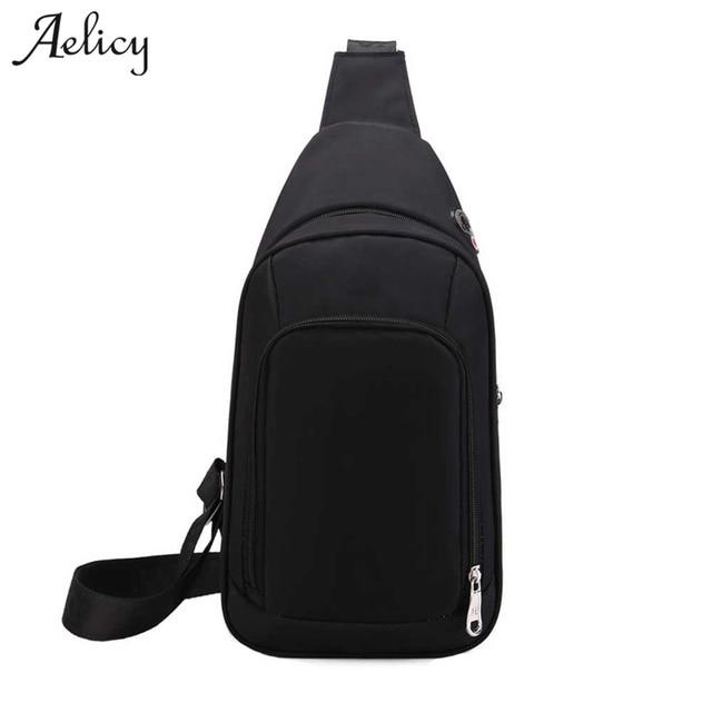 5670d0cbe8 Aelicy Casual Canvas Messenger Bag Black Men Chest Bags Small Size Men  Travel Shoulder Bag High Capacity Unisex Chest Pack 2018