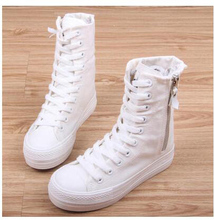 Women Sneakers High Top Flat Canvas Shoes With Zip Side Canvas Shoes Flat Woman Platform Leisure Shoes Zapatillas  Sapatos 2017