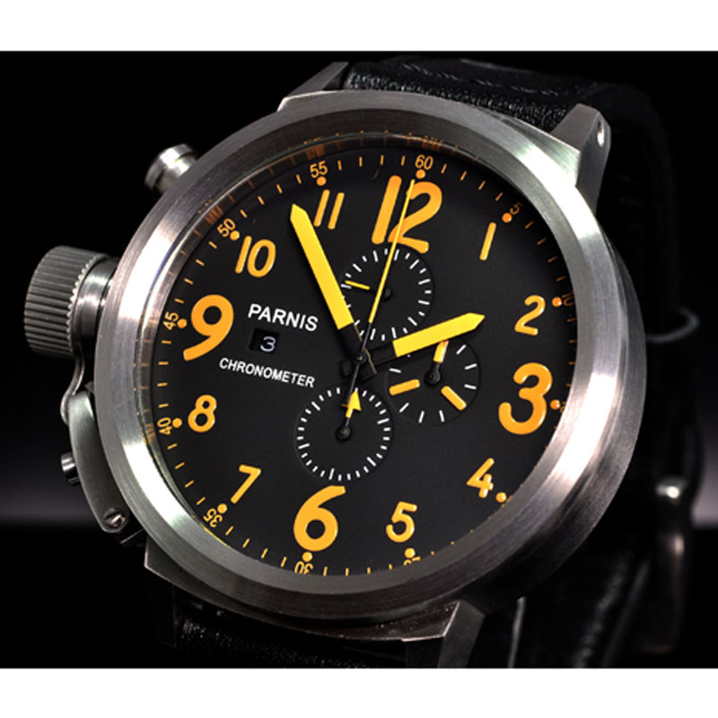 50mm PARNIS Black Dial Chronograph Top Brand Luxury Stainless steel Case Date Quartz Movement men 39 s Wristwatch 2019 New Arrive in Quartz Watches from Watches