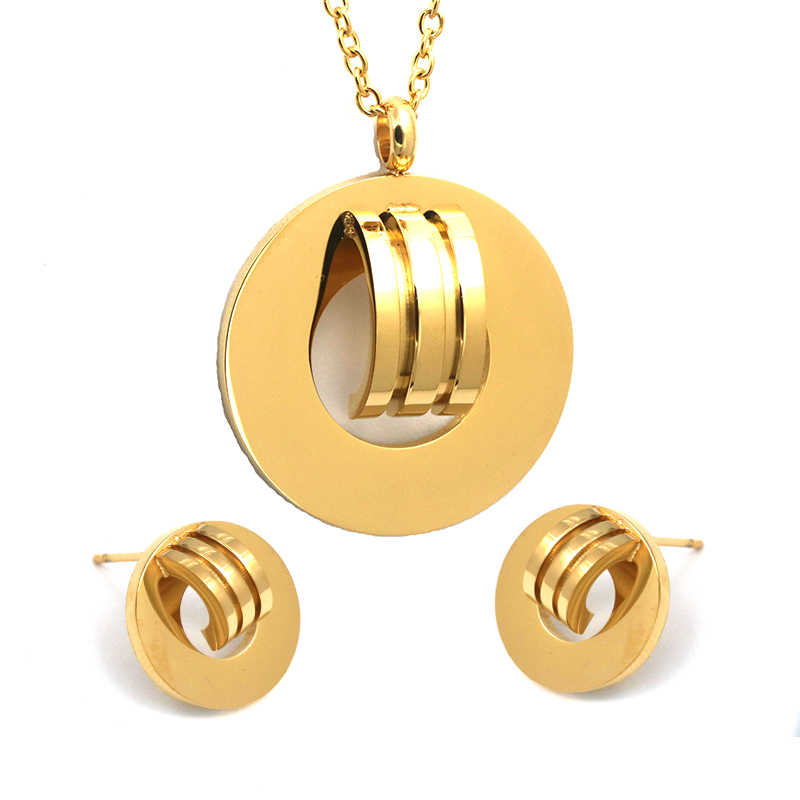 Gold-Color Jewelry Stainless Steel Necklace Stud Earrings Jewelry Set Wedding Jewelry set For Women Fashion