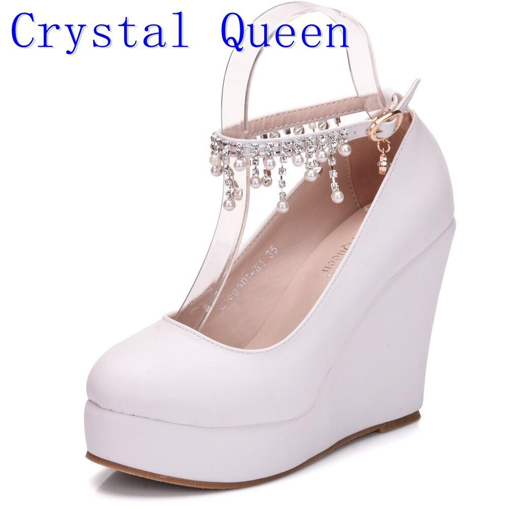 Cristal Reine Haut Talon avec Boucle Cheville Plate-Forme Wedge chaussures Femmes Pompe Wedge Haute Talons Plate-Forme Sapato Feminino Chaussures robe chaussures