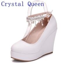 Kristall Königin High Heel Ankle Strap Plattform Keil schuhe Frauen Pumpe Keil High Heels Plattform Sapato Feminino Schuhe kleid schuhe