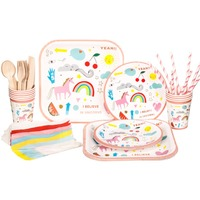 RiscaWin Birthday Party Set Supplies For 10 Paper Plates Paper Cups Paper Straws Napkins Wooden Forks
