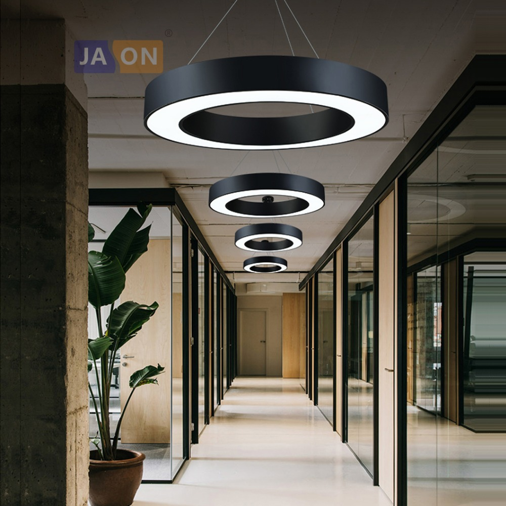 LED Postmodern Iron Acrylic Black White Round Ring Chandelier Lighting Lamparas De Techo Suspension Luminaire Lampen For Office