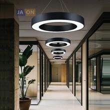 Светодиодный постмодерн железо акрил черный белый круглый люстра в форме кольца освещение Lamparas De Techo подвесной светильник для офиса