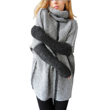 Фотография Autumn Winter Women Turtleneck Sweater Plus Size Vintage Knit Sweater Female Long Sleeve Loose Pullover Sweater