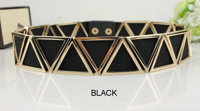 3.5 cm de Ancho Cinturón Elástico Cinturón Negro de Las Mujeres de Oro de Metal para Las Mujeres Cinto Feminino