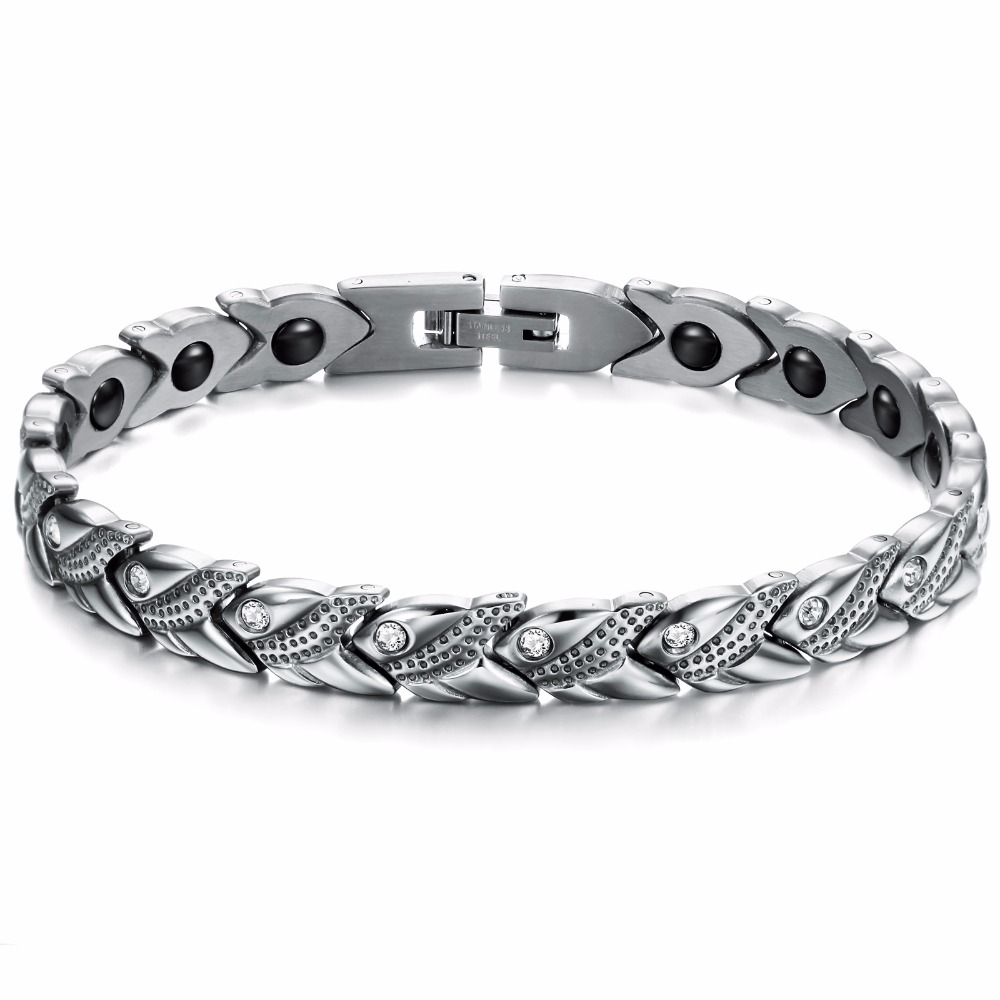 Wholesale Price New Fashion Accessories Stainless Steel Bracelet Magnetic Bangle Keep Health for Lady / Woman AZ-CY3347