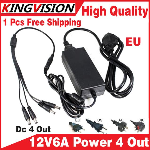 2016 venda! adaptador de alimentação 12V6A 4 out AC/DC Adaptador de 100 V-240 V Conversor Adaptador de Energia fornecer UE/EUA/UK Plug a 4 Macho Power Splitter