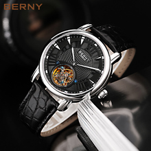 BERNY Top Brand Tourbillon Watch Men Automatic Sapphire Crocodile Skin Male Clock Role Luxury Watch Mens Mechanical Watches