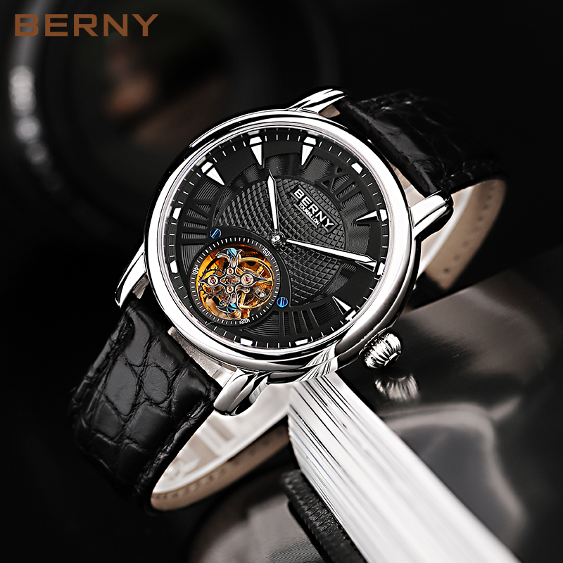BERNY Top Brand Tourbillon Watch Men Automatic Sapphire Crocodile Skin Male Clock