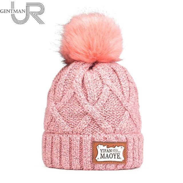 ee14b2be04b65 Newest Women Winter Hat High Quality Add Warm Fur Lining Knitted Hat  Fashion Pom Pom Hat
