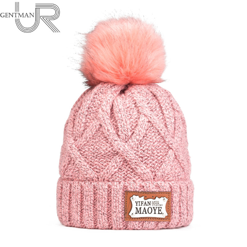 Newest Women Winter Hat High Quality Add Warm Fur Lining Knitted Hat Fashion Pom Pom Hat With MAOYE Letter Female Beanie Cap