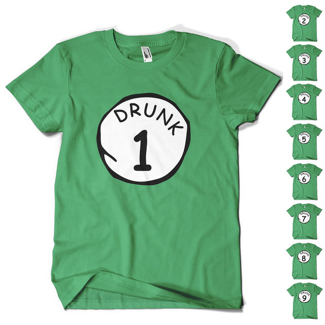 33ba910323 St Patricks Day T Shirt Paddys Day DRUNK 1 TO 9 Novelty Funny Beer Drinking tee  shirt homme Cotton short sleeve t-shirt