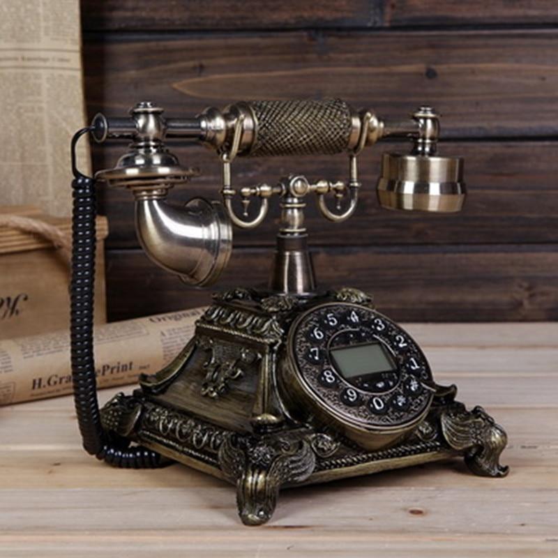 The new European telephone landline phone fashion retro antique telephone Decoration home art rustic household corded phone