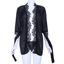 THINKTHENDO Sexy Women Satin Lingerie Robe Dress Sleepwear Nightwear Underwear G-String