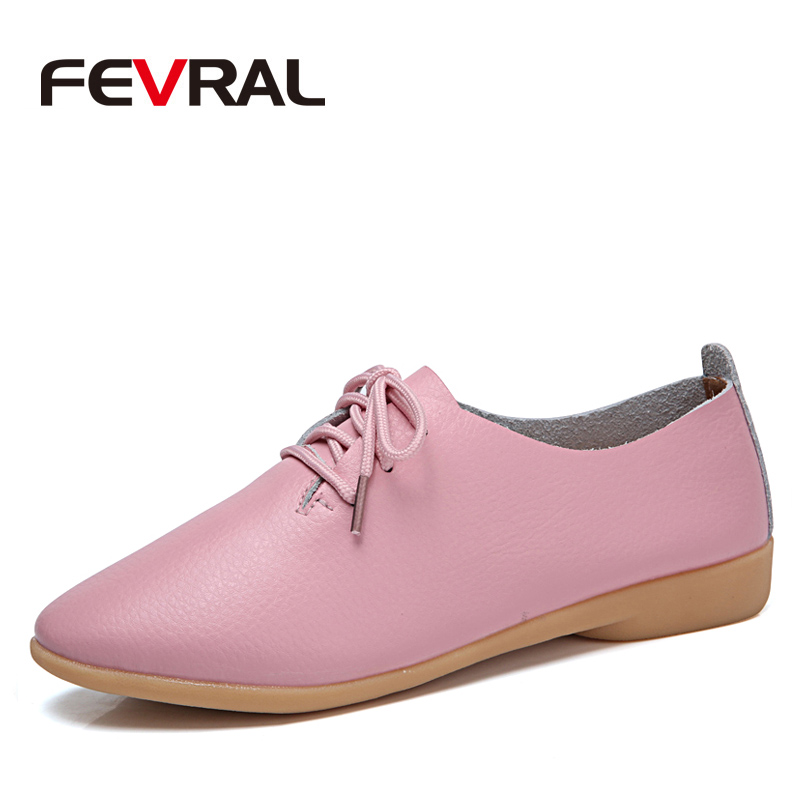FEVRAL Fashion Genuine Leather Oxford Shoes For Women Round Toe Lace-Up Casual Shoes Spring And Autumn Flat Loafers Shoes 35-44 брюки topman topman to030emygg96