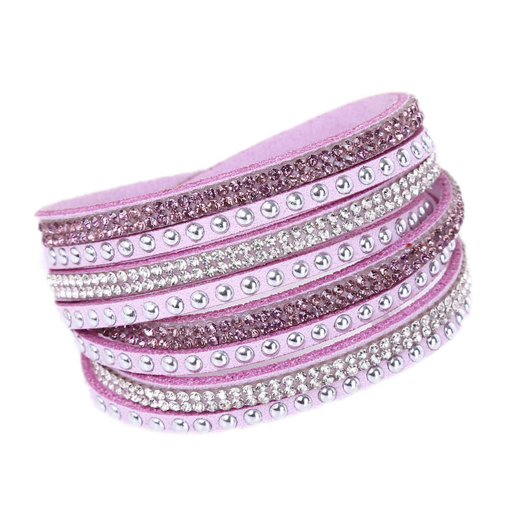 Hot Sale NEW Fashion Women's Multilayer Wrap Rivet Rhinestone Suede Cuff Bangle Wristband Bracelet