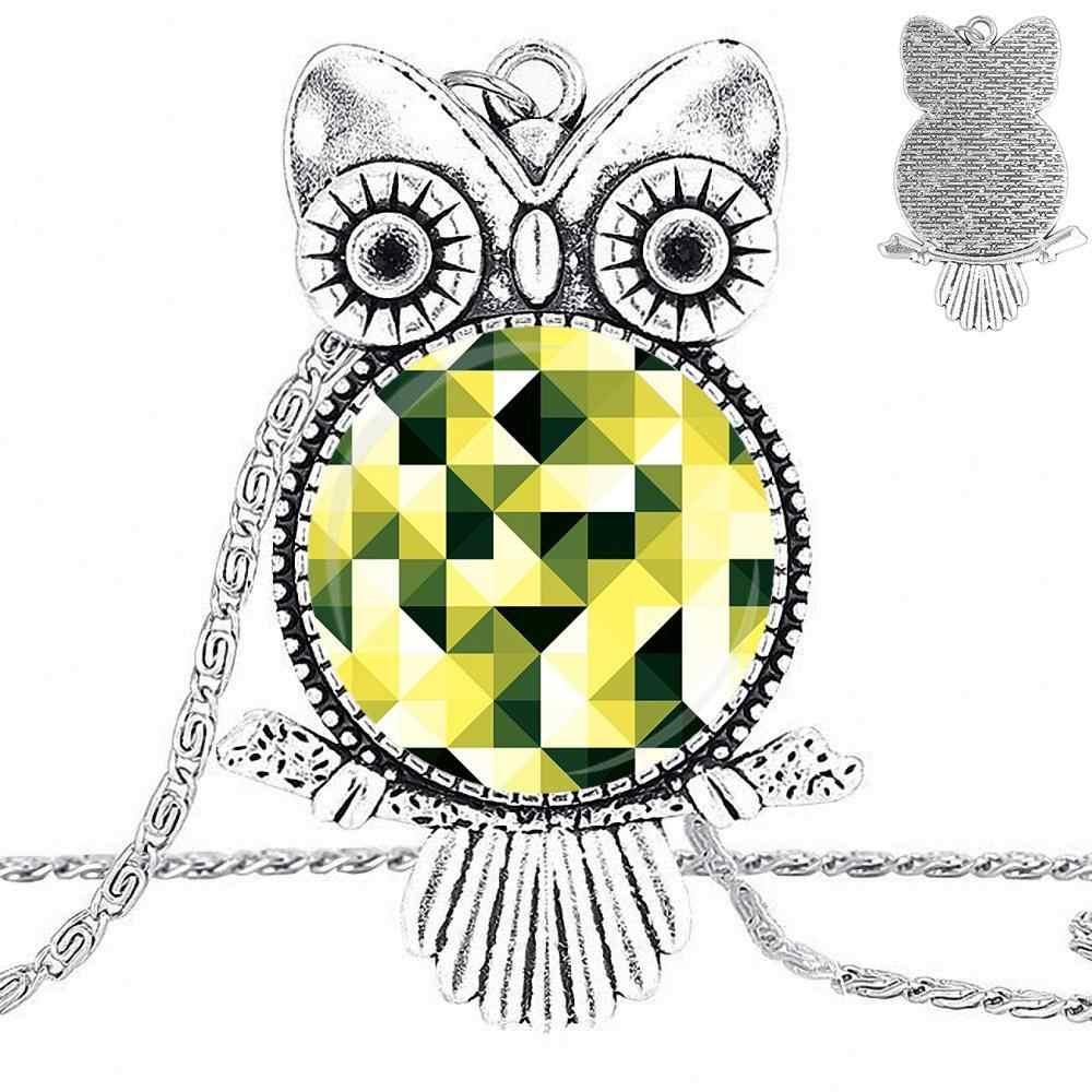EJ Smalto Per Le Donne Gioelleria raffinata e alla moda Dei Monili Placcato In Vetro Cabochon Choker Lunga Del Pendente Della Collana Del Gufo Creativo Mosaico Geometrico