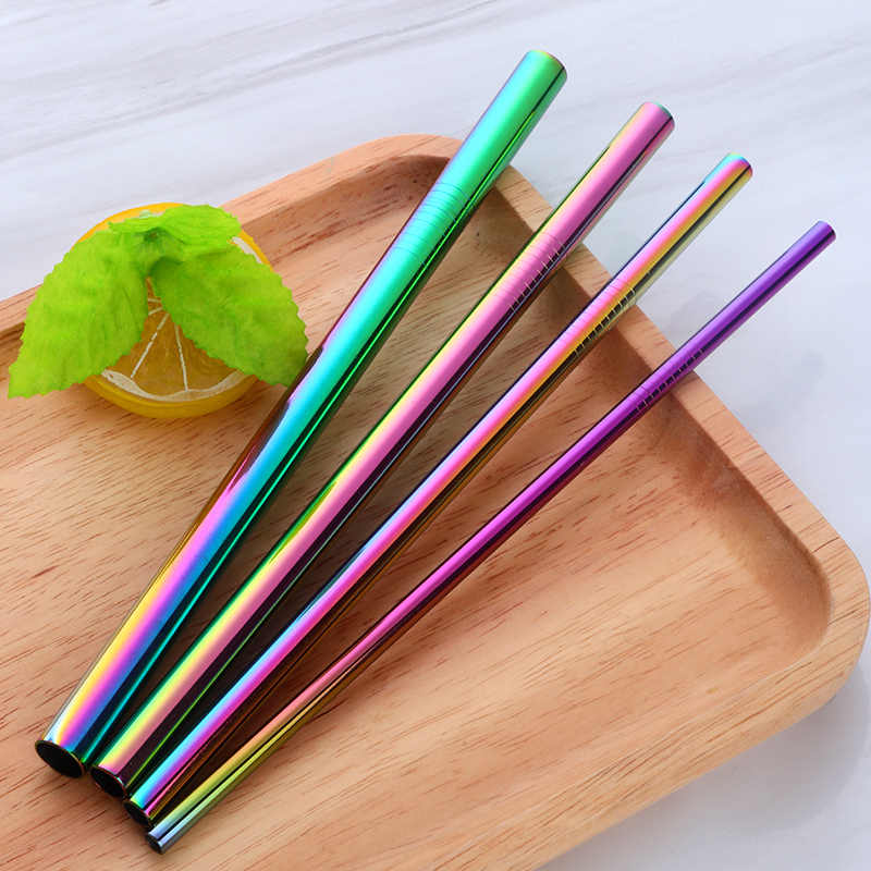 4pcs Metal Straight Drinking Straw With Fabric Pouch Stainless Steel Straw+4Brush Food Grade 6MM*8MM*10MM*12MM Bar Accessories
