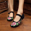 New spring summer Vintage fashion peony flower embroidery women flats shoes dance Cloth shoes for ladies sapato feminino