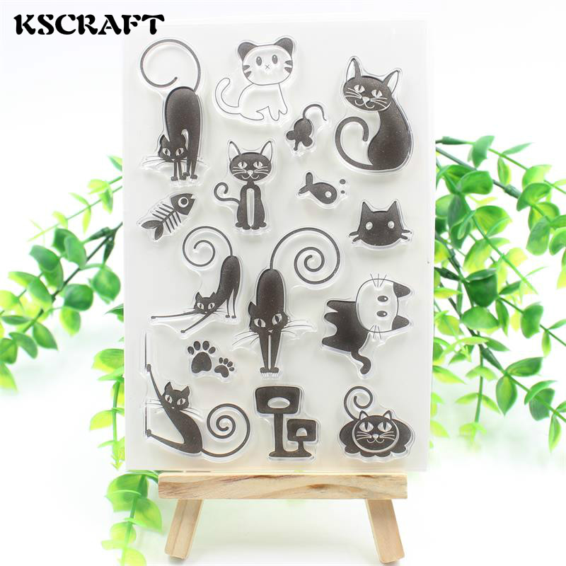 KSCRAFT Loverly Cat Transparent Clear Silicone Stamp/Seal for DIY scrapbooking/photo album Decorative clear stamp sheets