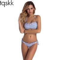 TQSKK 2017 Newest Bikinis Women Halter Top Swimsuit Sexy Bandeau Swimwear Female Bikini Set Beach