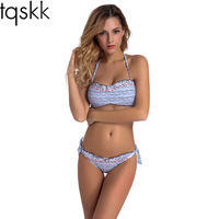 TQSKK 2017 Newest Bikinis Women Halter Top Swimsuit Sexy Bandeau Swimwear Female Bikini Set Beach