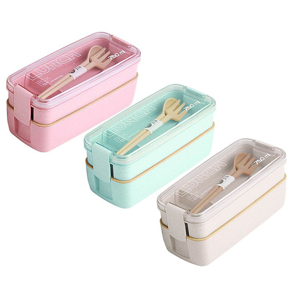 750ml Healthy Material Wheat Straw Bento Boxes 2 Layer Lunch Box Microwave Dinnerware Food Storage Container Lunch box