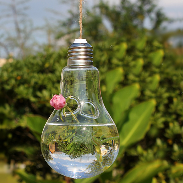 Clear Light Bulb Shape Glass Hanging Vase Bottle Hydroponic Container Flower Diy Home Wedding