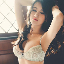 83f52548bb8e2 Shaonvmeiwu Woman sexy lace underwear thin gauze perspective bra set large  size fat MM breathable comfortable bra mint green