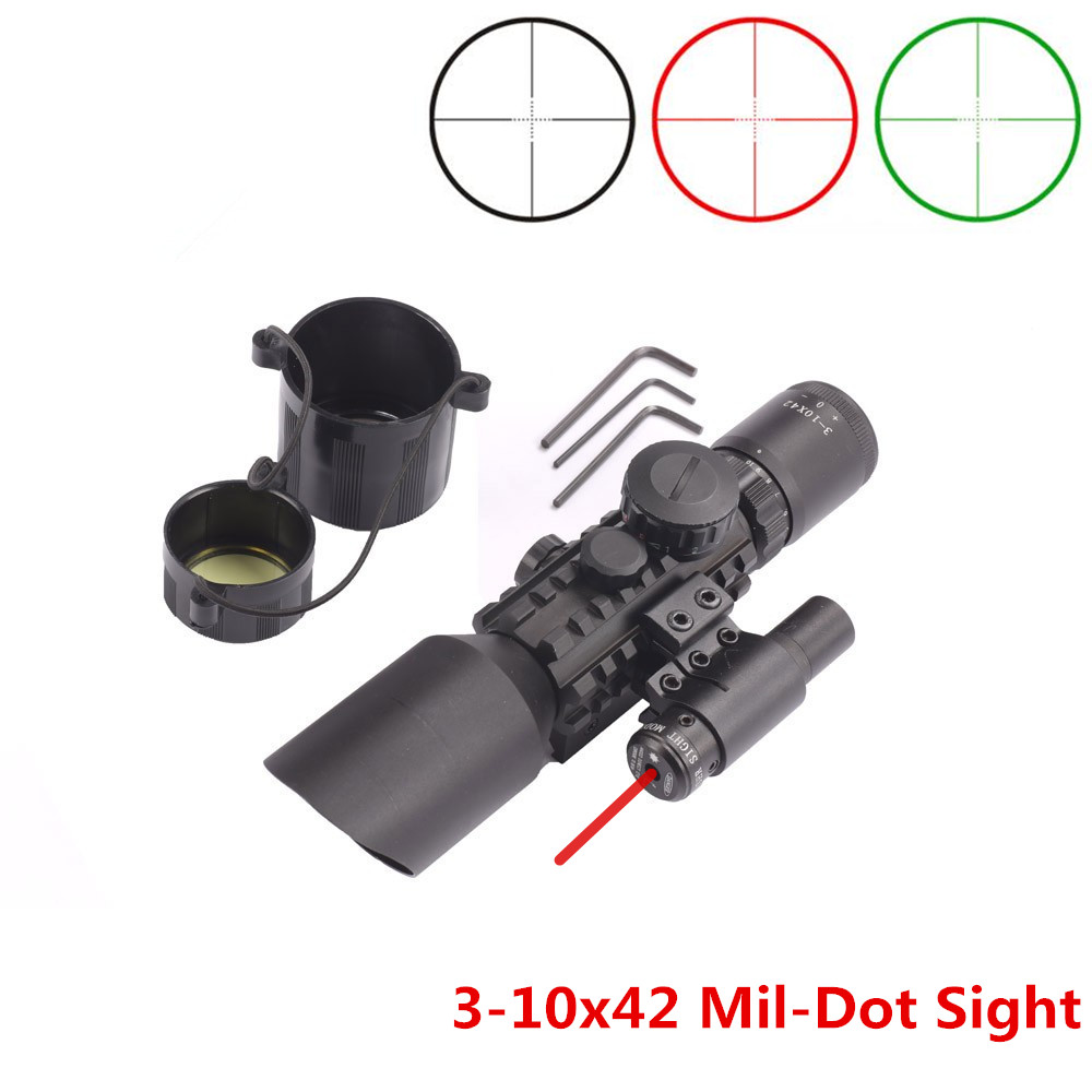 Green Red Dot 3-10x42 Illuminate Mil-Dot Reticle Sight Rifle Scope With Red Laser for Airsoft Hunting Caza 20mm 11mm Mount Rail 2 5 10x40 air rifle scope reticle red green dot mil dot dual illuminated sight with red laser w rail mount airsoft gun hunting