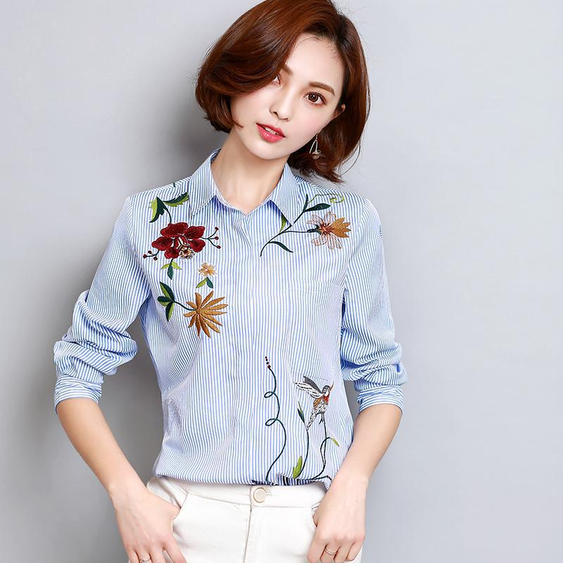 Nuevo 2017 mujeres del resorte del bordado de rayas blusas camisas mujer casual