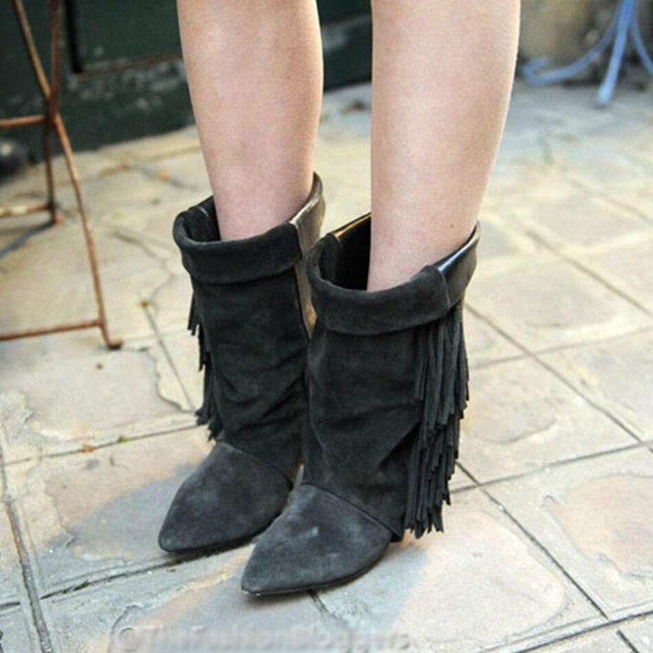 Gland Pointu De Bottes Luxe Marque Talon Noir Style Femmes mollet Spike Cuir Gris Vache Picture Talons as Sur As Glissement Chaussures Mi Picture En Bout Étrange dX8AAqw