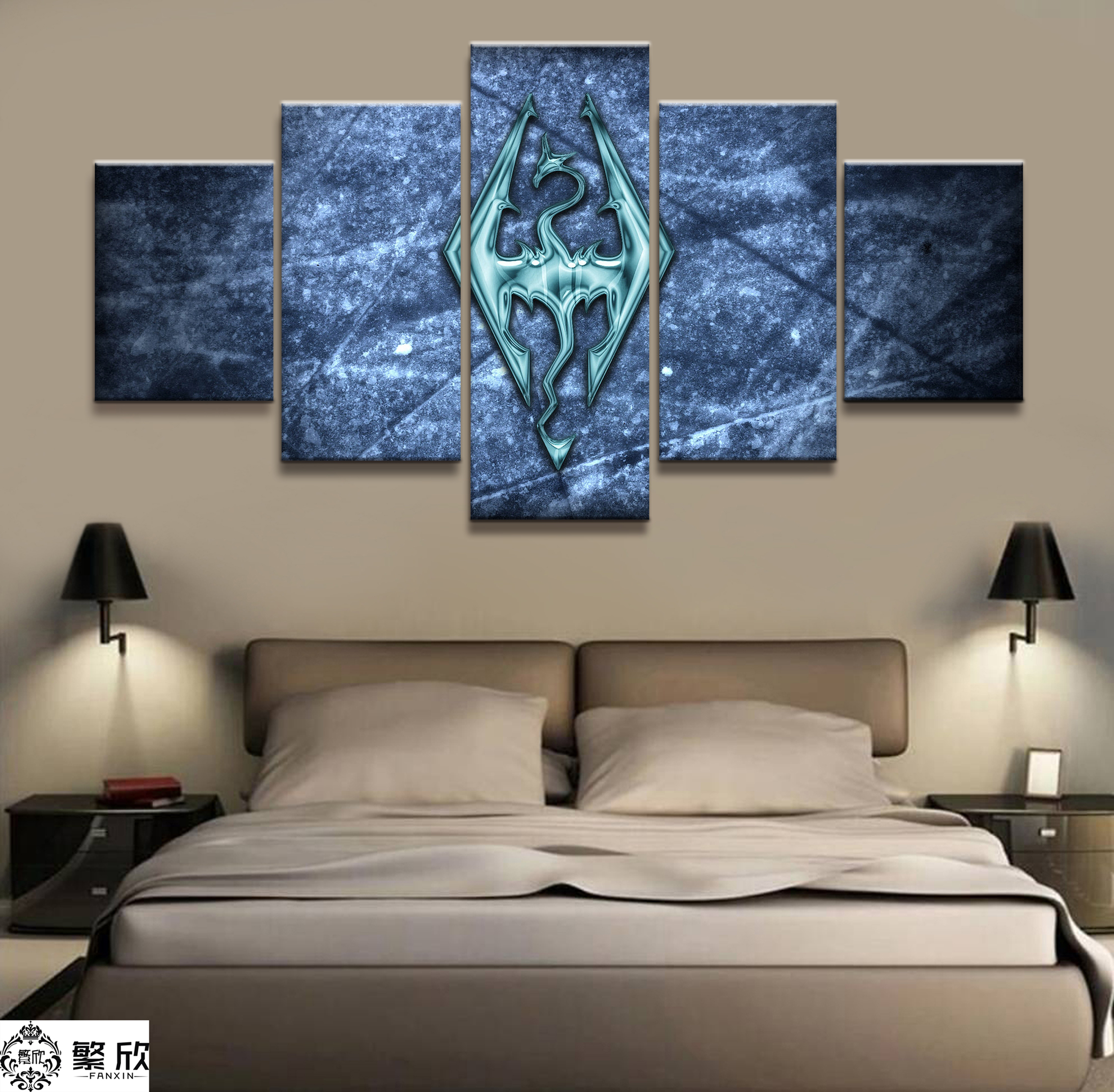 Framed Home Decor The Elder Skyrim Mountain Canvas Prints Painting Wall Art 5PCS