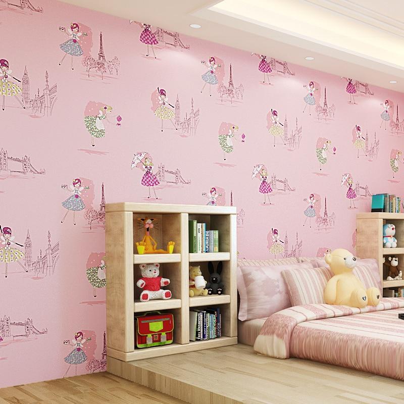wallpapers cartoon ballet korean pink princess bedroom wall 10m children paris boy living boys 53cm woven non paper zoom tower