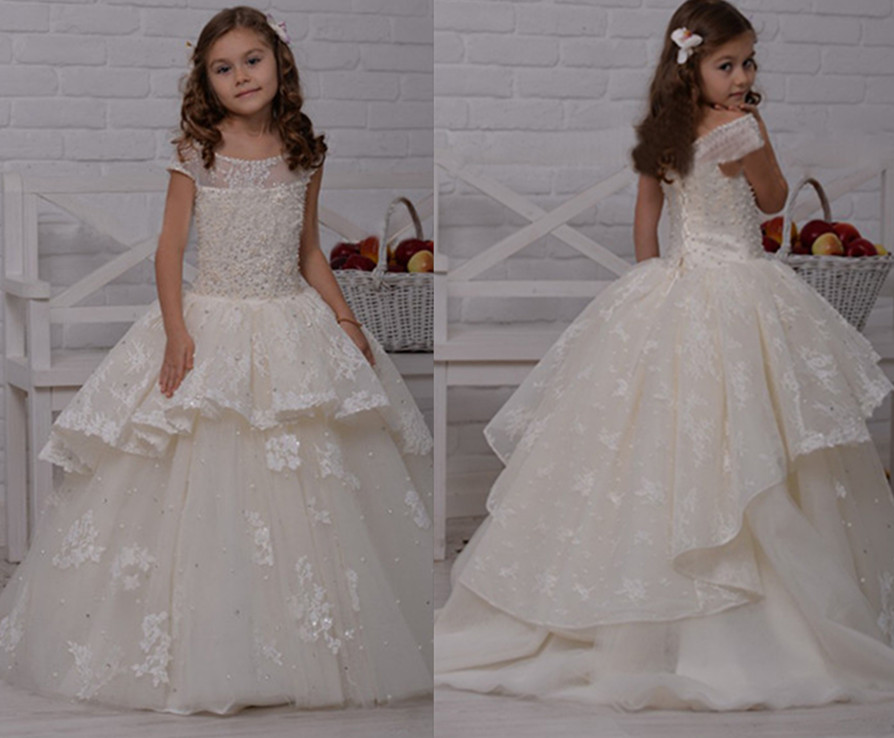 New White Ivory Flower Girl Dresses 2017 Pearls Tiered Lace Train Gorgeous Kids Ball Gown First Communion Dresses For Princess 4pcs new for ball uff bes m18mg noc80b s04g