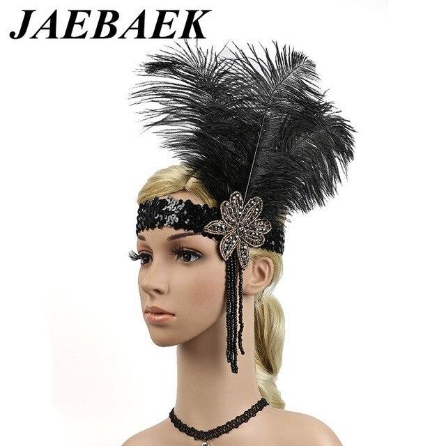 jaebaek 1920s flapper headpiece roaring 20s feather headband gatsby