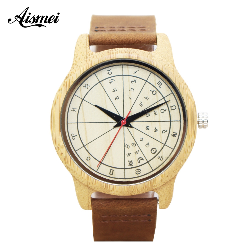 Fashion Bamboo Wood Watch 12 Zodiac Signs Dial Women Men's quartz watches with Genuine Leather Watchband For Lover's Gifts fashion cool punk rock design men quartz wooden watch modern black genuine leather watchband unique wood watches gift for male
