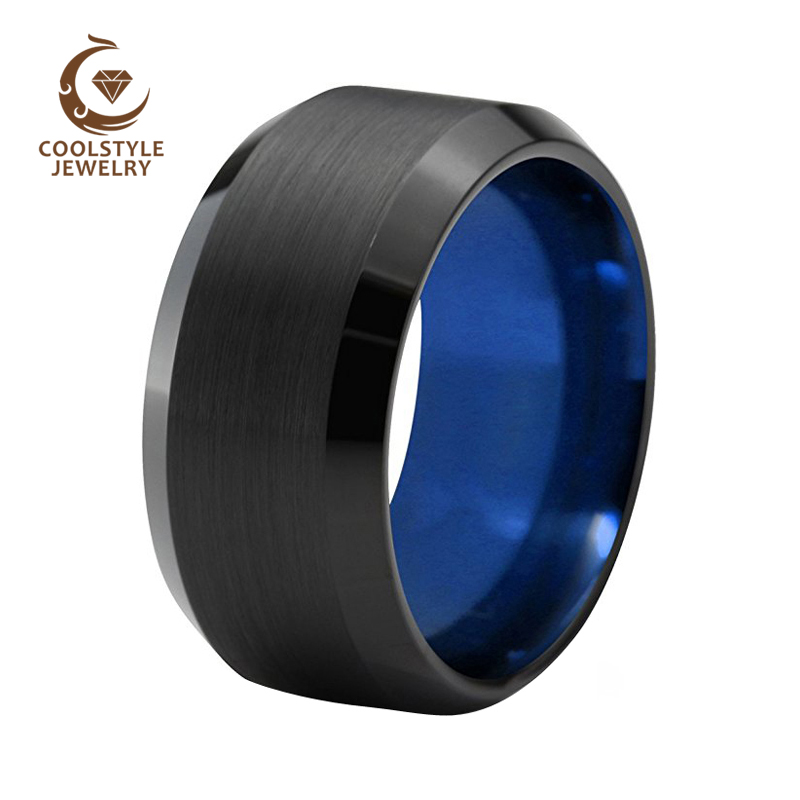 10mm Big Large Width Tungsten Ring Wedding Band For Men Beveled Edges Brushed Finish Comfort Fit Size 5 to 15